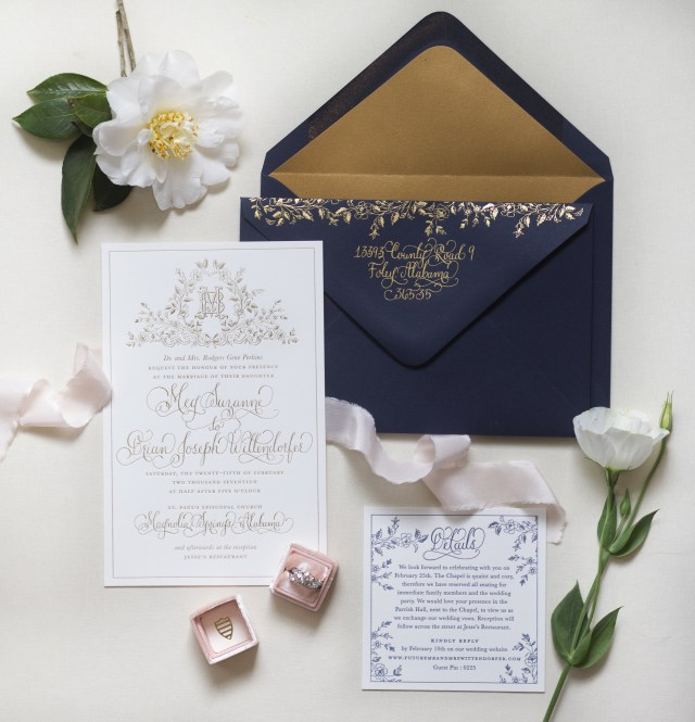 Navy And Gold Wedding Invitations Regal Navy And Gold Foil Calligraphy Wedding Invitations
