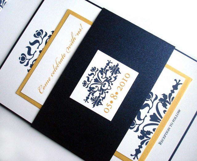 Navy And Gold Wedding Invitations Wedding Invitation Brocade Set W Belly Band Metallic Navy Blue
