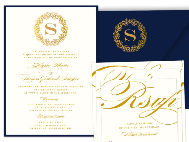 Navy And Gold Wedding Invitations Wedding Invitations