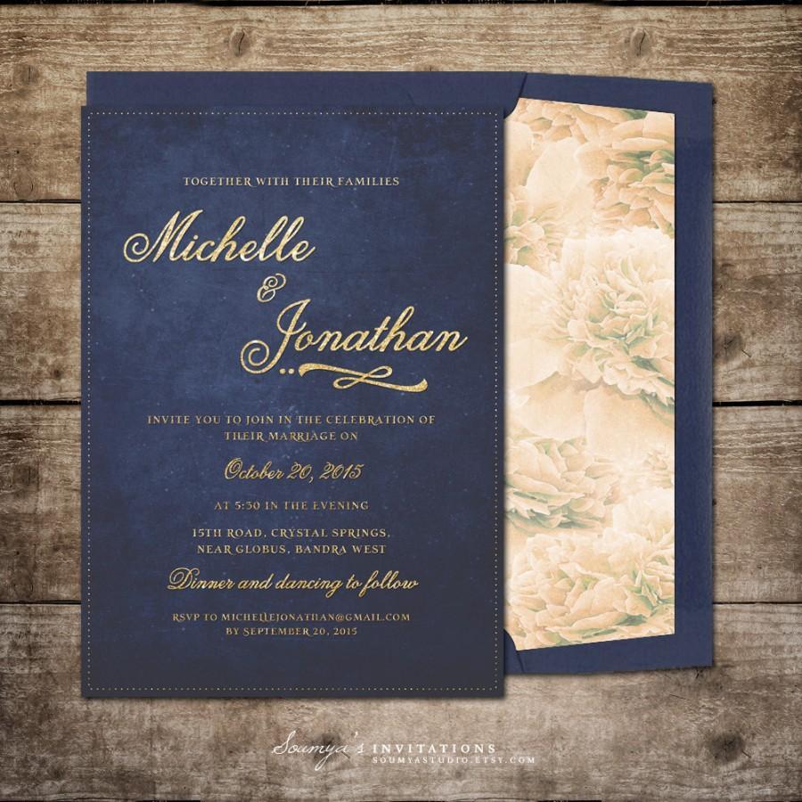 Navy Blue And Gold Wedding Invitations Navy Blue And Gold Wedding Invitation Printable Wedding Invitation