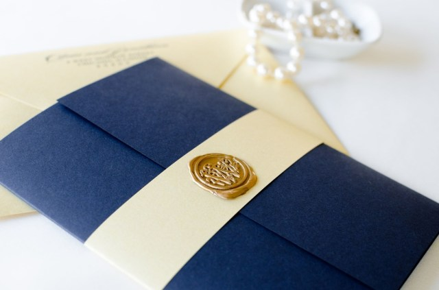 Navy Blue And Gold Wedding Invitations Navy Blue Gold Shimmer And Ivory Wedding Invitation With Gold Wax