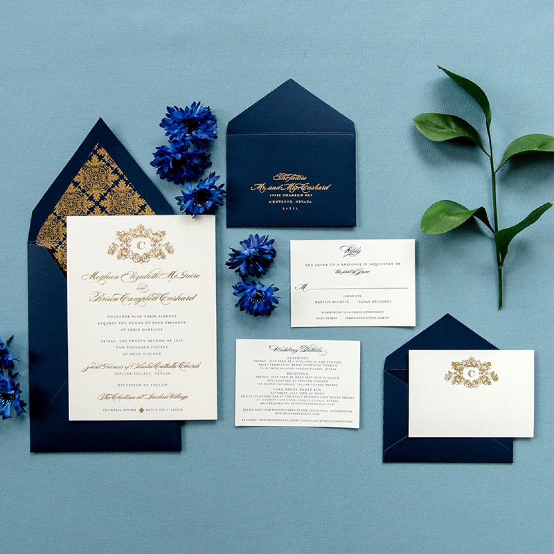 Navy Blue And Gold Wedding Invitations Vintage Navy Blue Gold Foil Pressed Wedding Invitation Set