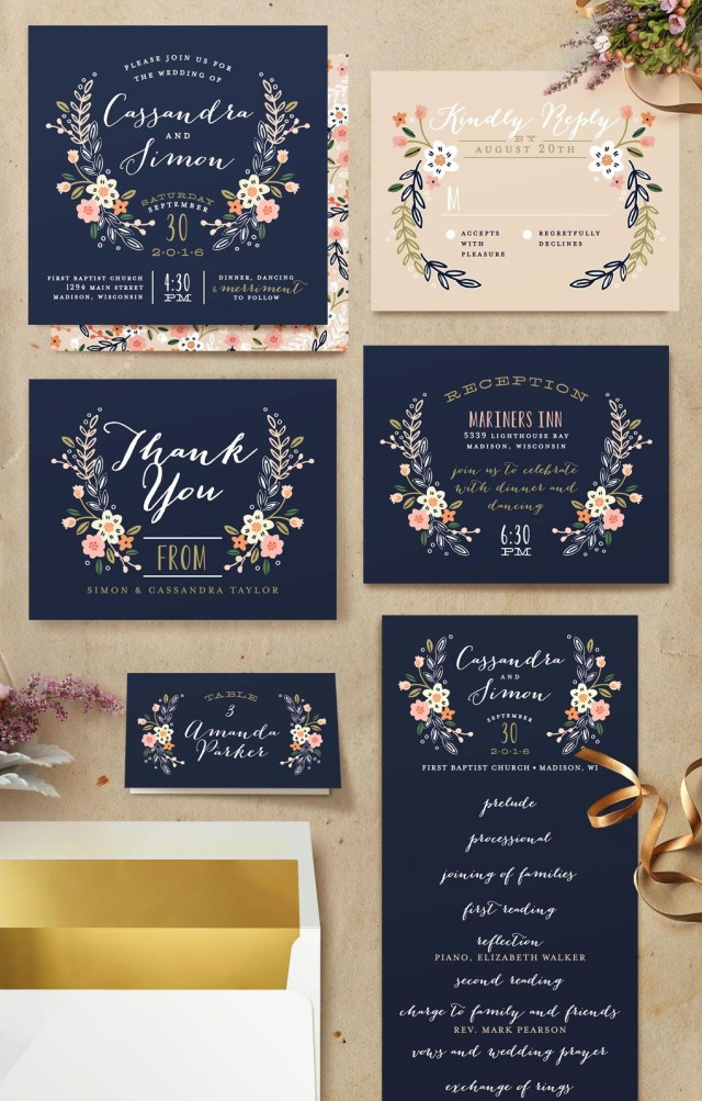 Navy Blue And Gold Wedding Invitations Wildflower Crest My Someday3 Pinterest Wedding Invitations