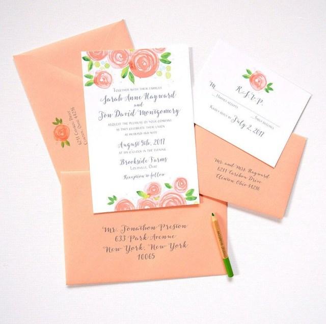 Peach Wedding Invitations Custom Watercolor Wedding Invitation Sample Peach Von Mospensstudio