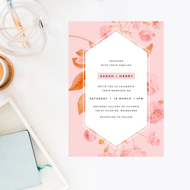 Peach Wedding Invitations Light Pink Modern Botanical Wedding Invitations Contemporary Florals