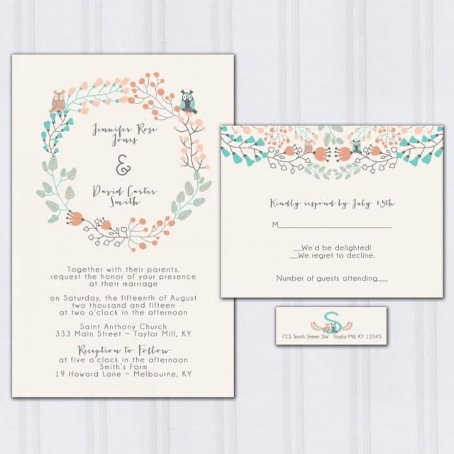 Peach Wedding Invitations Owl Wedding Invitations Floral Boho Wedding Invitation Aqua Blue