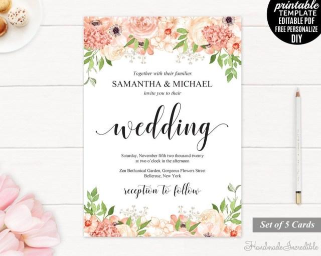 Peach Wedding Invitations Peach And Cream Wedding Invitation Set Template Printable Blush
