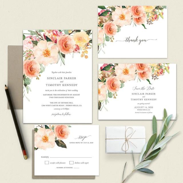 Peach Wedding Invitations Peach Wedding Invitations Blush Peach Floral Greenery