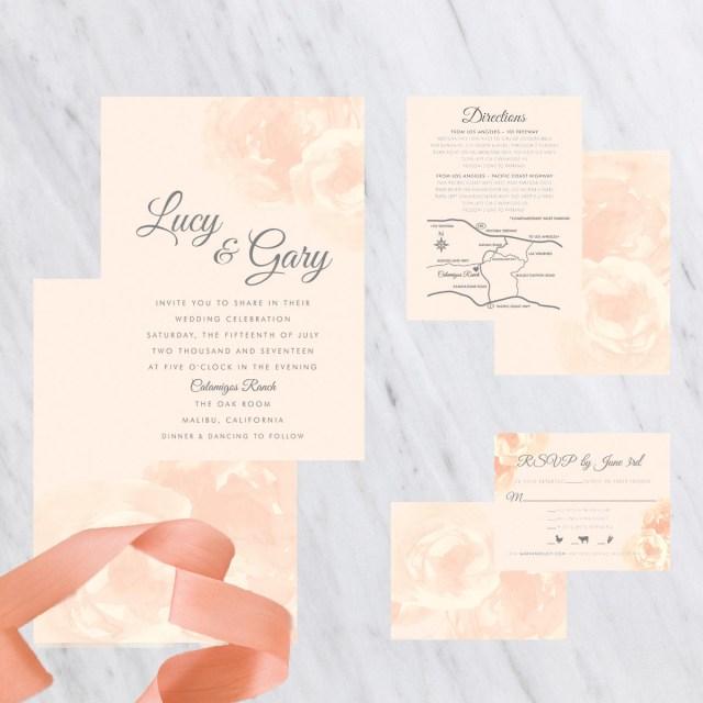 Peach Wedding Invitations Peach Wedding Invitations Blush Wedding Invitations Cream Etsy