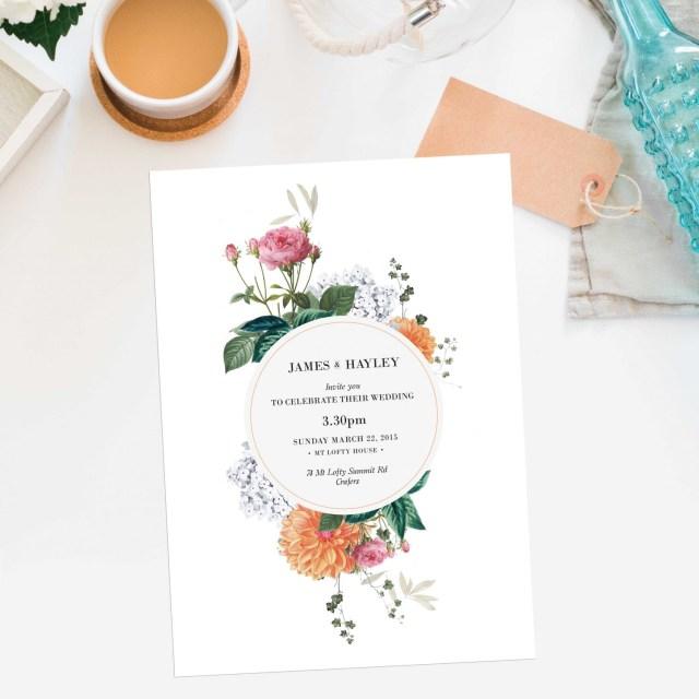 Peach Wedding Invitations Vintage Botanical Pink Orange Peach Wedding Invitations Dahlia