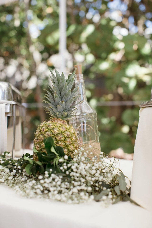 Pineapple Wedding Decor Tropical Inspired Wedding Reception Decor Pineapple White Bas