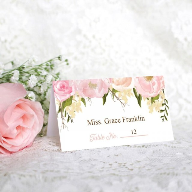 Placecards Wedding Diy Wedding Place Cards Pink Floral Diy Printable Wedding Place