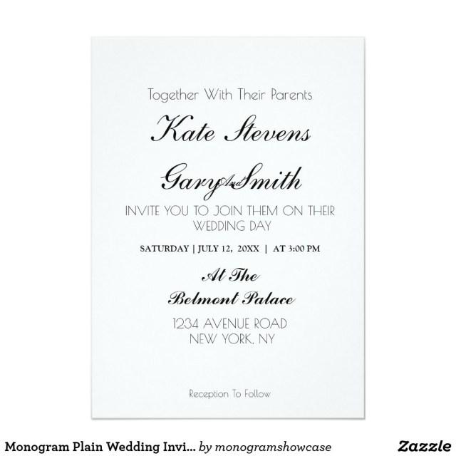 Plain Wedding Invitations Monogram Plain Wedding Invitation Flower Wedding Invitations