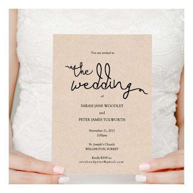 Plain Wedding Invitations Wedding Invitation Printable Instant Download Invitation Printable