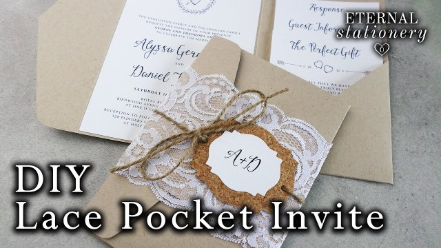 Pocket Wedding Invitation How To Make Rustic Lace Pocket Wedding Invitations With Cork Tag