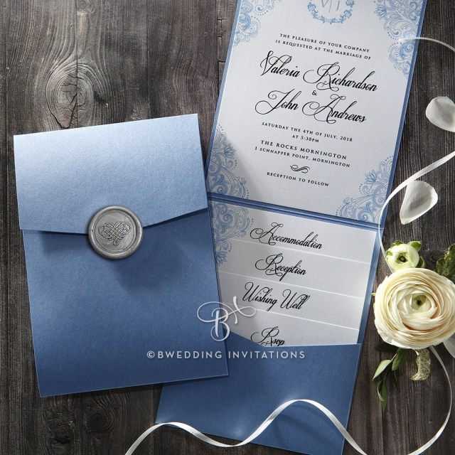 Pocket Wedding Invitation Trifold Pocket Invitation In Pearlized Navy With Silver Seal