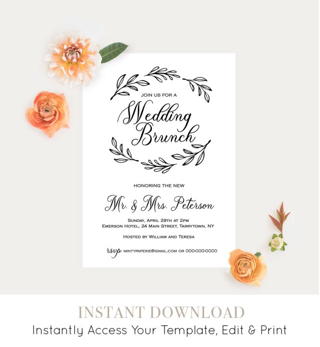 Post Wedding Brunch Invitations Wedding Brunch Template Post Wedding Brunch Invitation Fully
