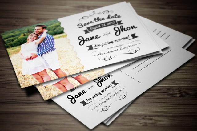 Postcard Wedding Invitations Elegant Wedding Invitation Postcard Graphic Boutique On Creative