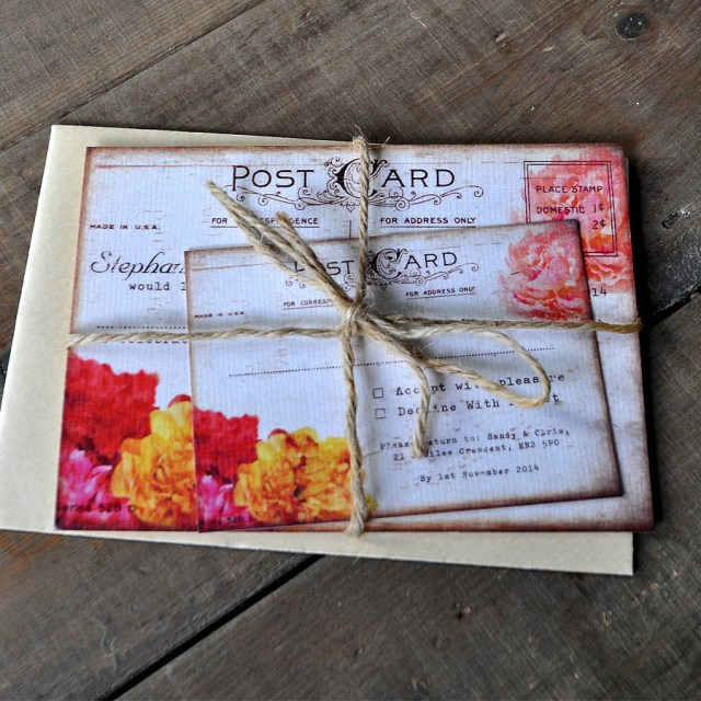 Postcard Wedding Invitations Floral Vintage Postcard Wedding Invitation Feel Good Wedding