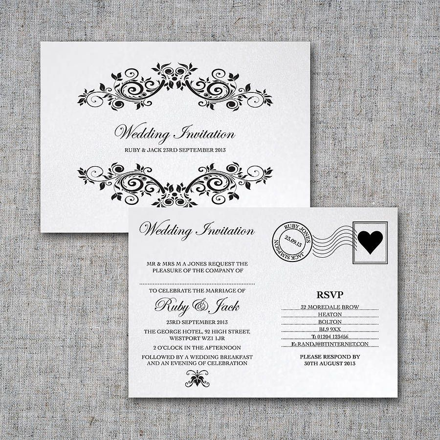 Postcard Wedding Invitations Personalised Postcard Wedding Invitation Intwine 2 Not On The