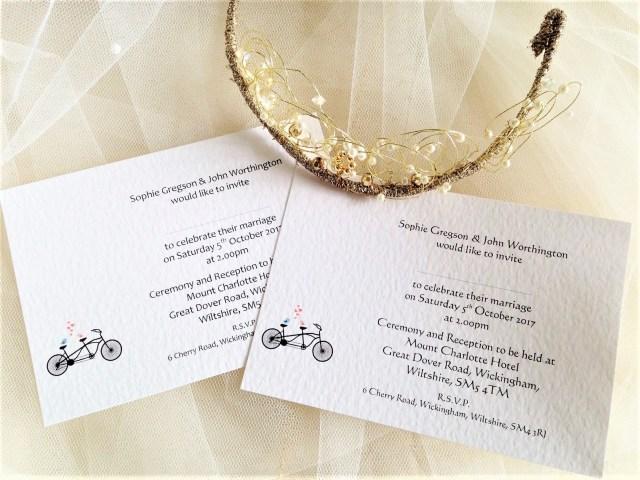 Postcard Wedding Invitations Tandem Bike Postcard Wedding Invitations Wedding Invites