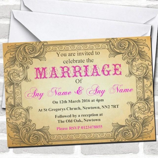 Postcard Wedding Invitations Typography Vintage Rosa Hot Rosa Vintage Postcard Wedding
