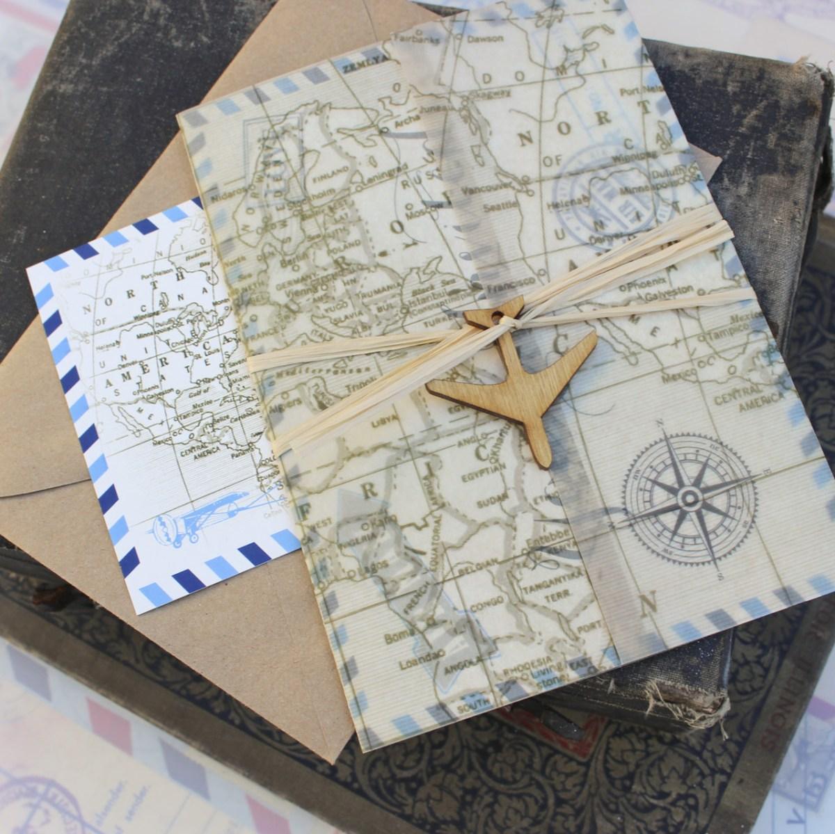 Postcard Wedding Invitations Vintage Air Mail Postcard Wedding Invitation