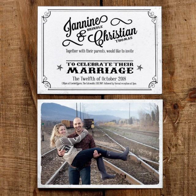 Postcard Wedding Invitations Vintage Photo Postcard Wedding Invitation Feel Good Wedding