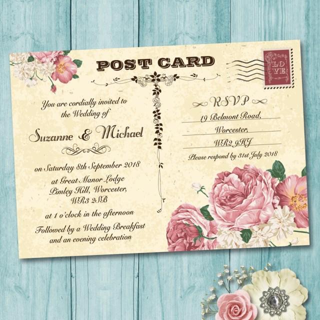 Postcard Wedding Invitations Vintage Postcard Pink Roses Wedding Invitation Elisa Design