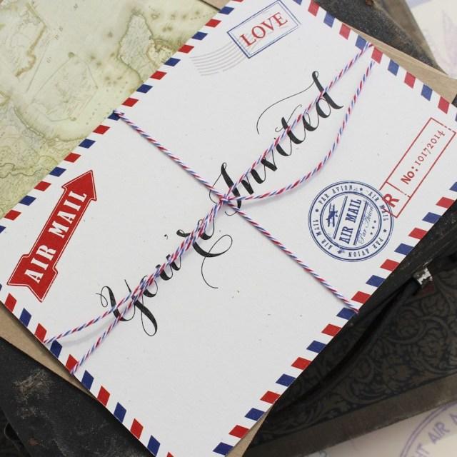 Postcard Wedding Invitations Vintage Travel Postcard Wedding Invitation Air Mail Alexandros