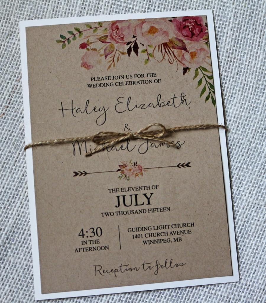 photograph relating to Printable Invitation Kits identified as Printable Marriage Invitation Kits Kraft Marriage Invitation