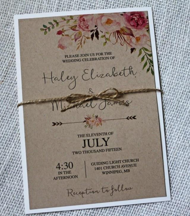 Printable Wedding Invitation Kits Kraft Wedding Invitation Rustic Wedding Invitation Floral
