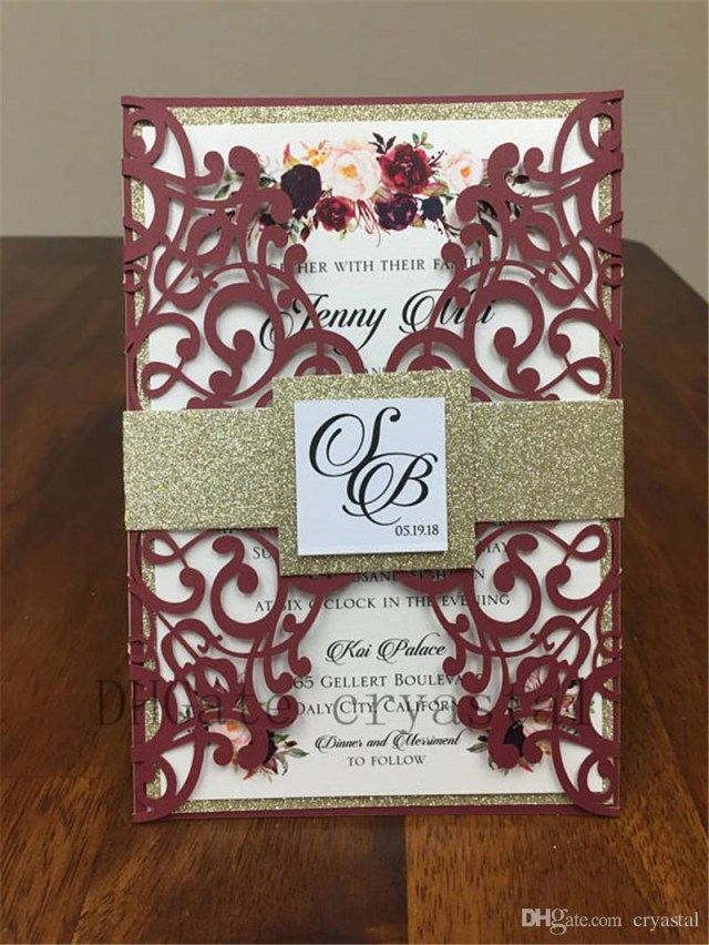 Printed Wedding Invitations Beautiful Marsala Burgundy Shimmer Wedding Invitation Set Includes