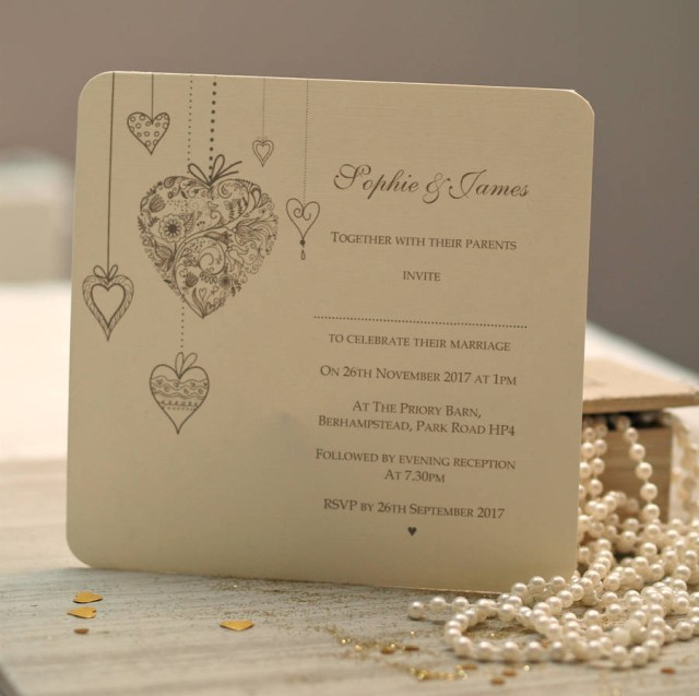 Printed Wedding Invitations Personalised Hearts Wedding Invitations Beautiful Day