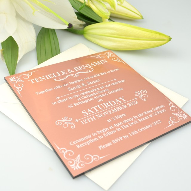 Printed Wedding Invitations Square Rose Gold Acrylic Printed Wedding Invitations Personalised