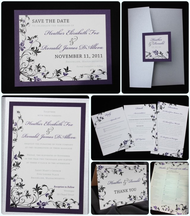 Purple And Silver Wedding Invitations Dark Purple Black Silver Floral Pocketfold Wedding Invitations