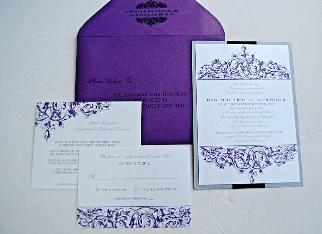 Purple And Silver Wedding Invitations Purple And Silver Vintage Wedding Invitations Lepenn Designs