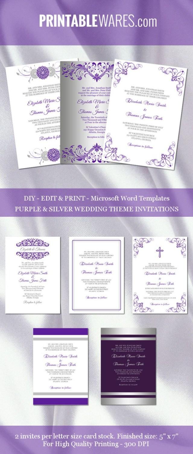 Purple And Silver Wedding Invitations Purple And Silver Wedding Invitation Templates For Microsoft Word