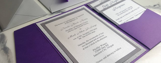 Purple And Silver Wedding Invitations Purple Silver Wedding Invitations Metallic Pocket Fold Etsy