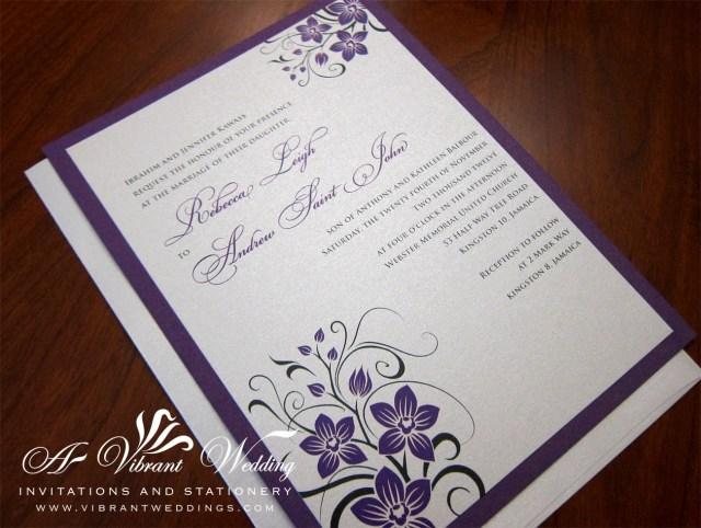 Purple And Silver Wedding Invitations Royal Purple And Platinum Wedding Invitation With Orchid Design