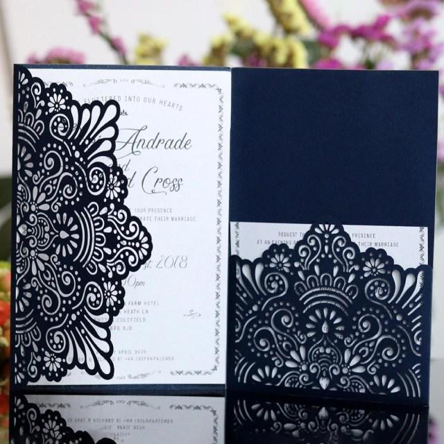 Purple Wedding Invitation Kits 2018 European Style Lace Wedding Invitations Cards Laser Cut Tri