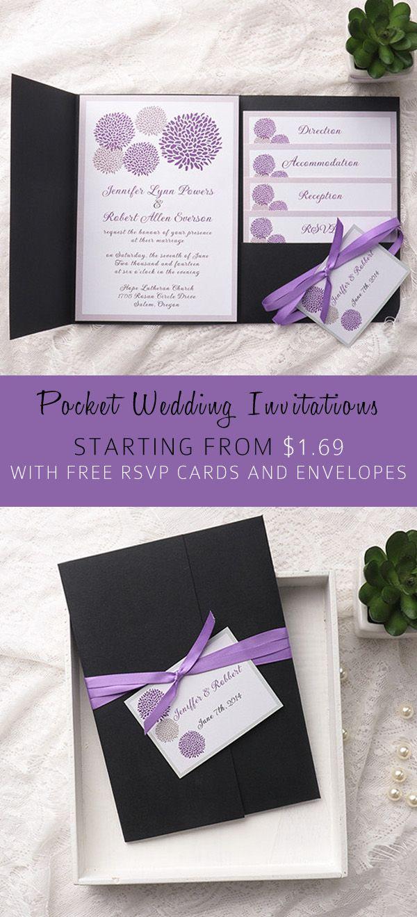 Purple Wedding Invitation Kits Cheap Purple Dandelion Black Pocket Wedding Invitation Kits Ewpi155