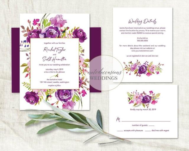 Purple Wedding Invitation Kits Purple Wedding Invitations Printable Set Purple Watercolor Floral