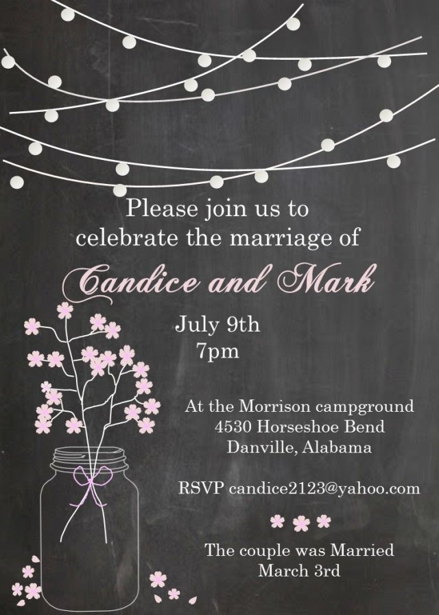 Reception Invitation Wording After Private Wedding Mason Jar And Lights Change The Wording For Any Occasion After The