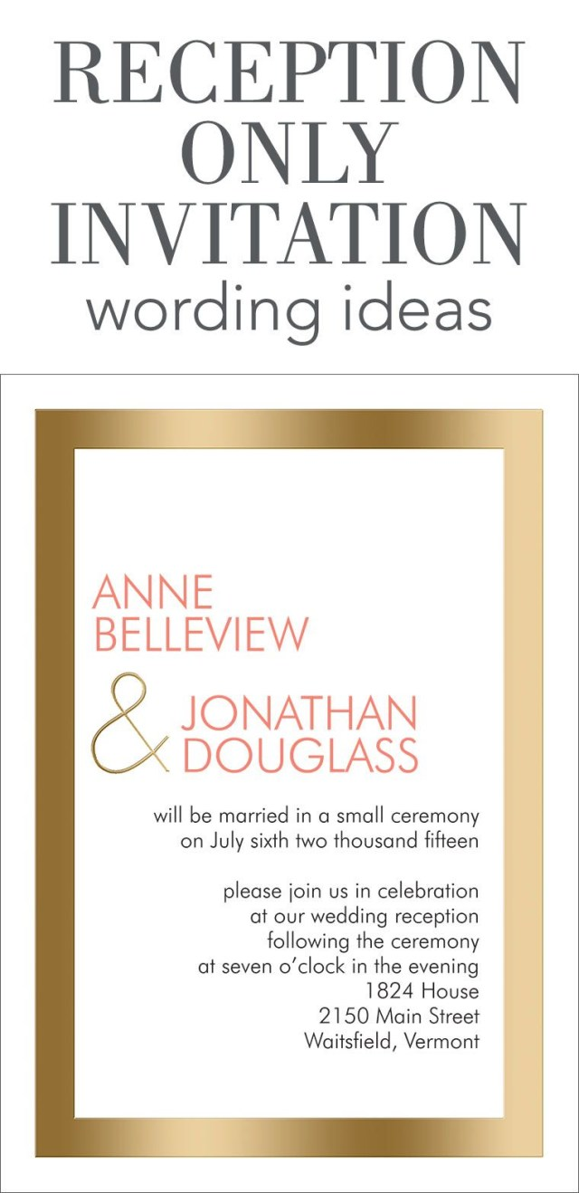 Reception Only Wedding Invitations Reception Only Invitation Wording Wedding Help Tips Pinterest