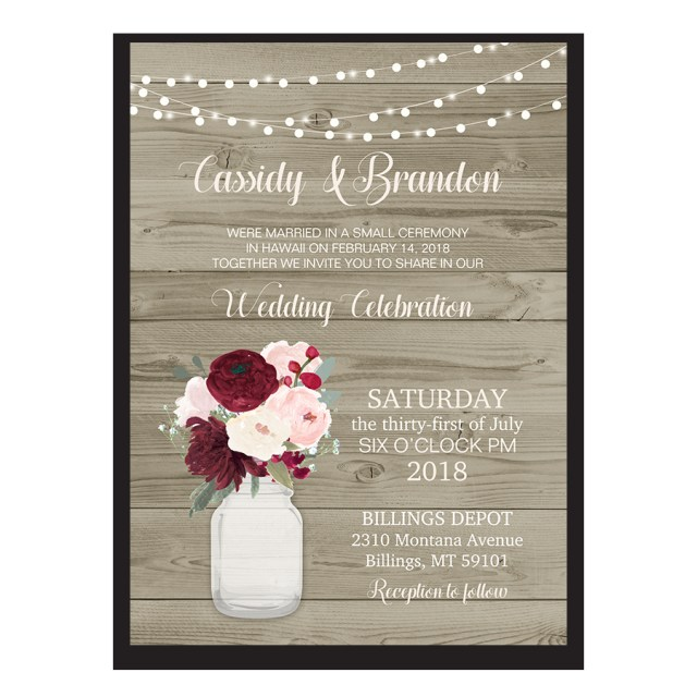 Reception Only Wedding Invitations Rustic Wedding Reception Only Invitation Mason Jar