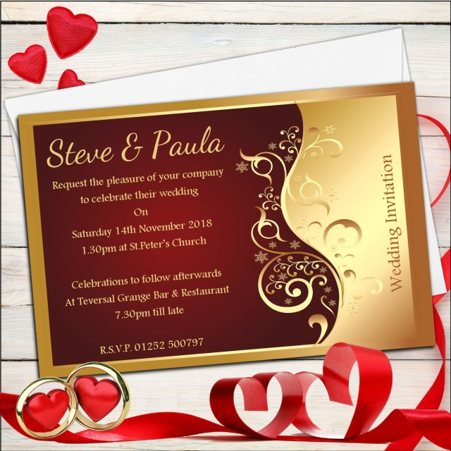 Red And Gold Wedding Invitations 10 Personalised Red Gold Wedding Invitations Day Evening N25
