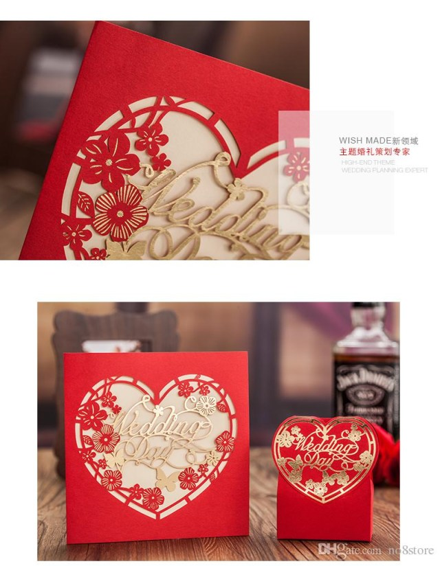 Red And Gold Wedding Invitations 2019 Laser Cut Wedding Invitations Red And Gold Free Printing