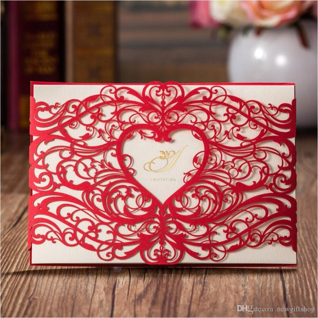 Red And Gold Wedding Invitations Fashion Laser Cut Red Gold Hollow Heart Design Wedding Invitation