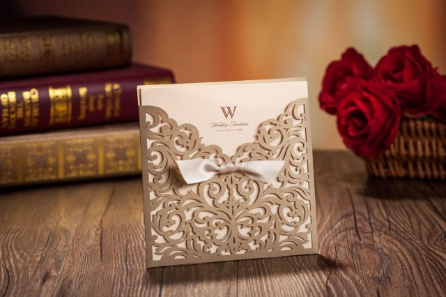 Red And Gold Wedding Invitations Laser Cut Wedding Invitations Cards Gold Ribbon Hollow Wedding Card